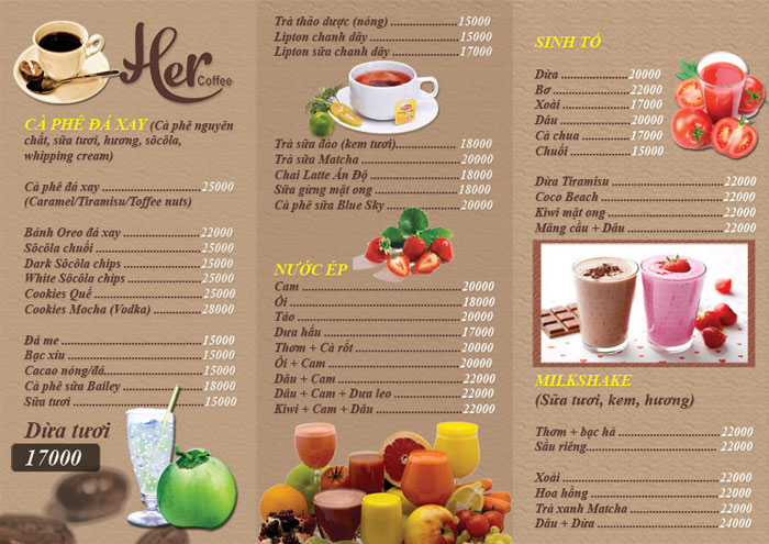 color menu cafe
