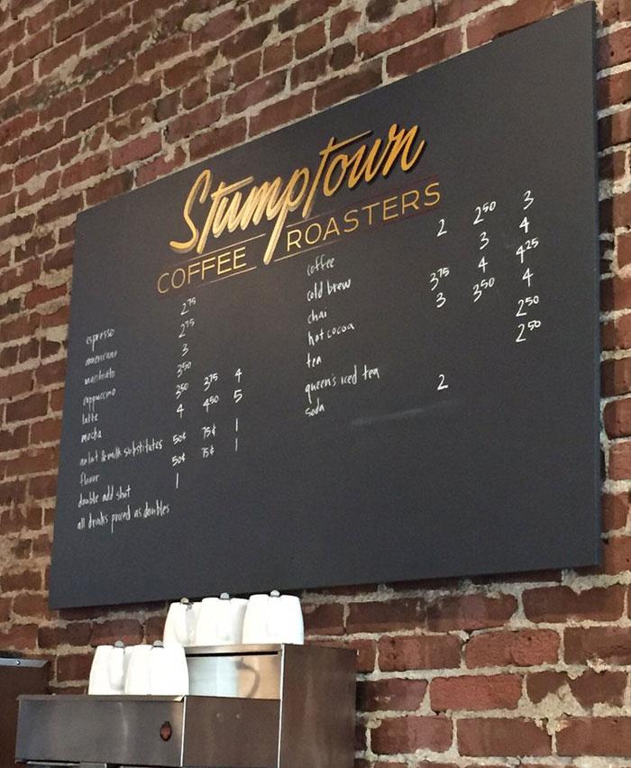 handwritten menu cafe