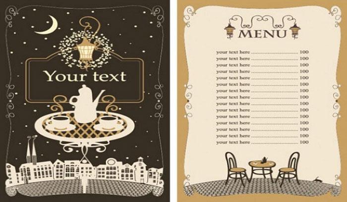 menu cafe phong cách vintage