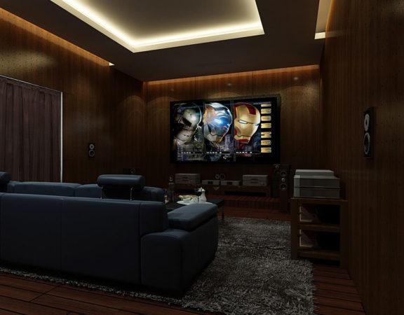 thiết kế phòng karaoke gia đình xem phim