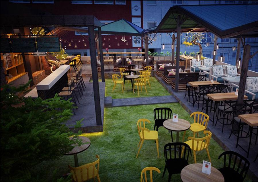thiết kế quán cafe sân thượng ảnh 1