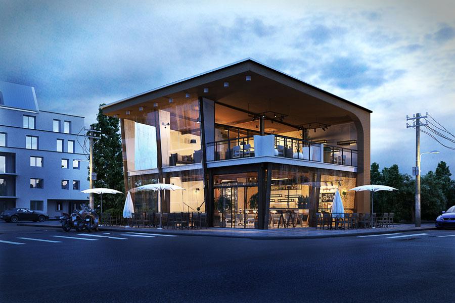 thiết kế quán cafe 2 mặt tiền đẹp 1