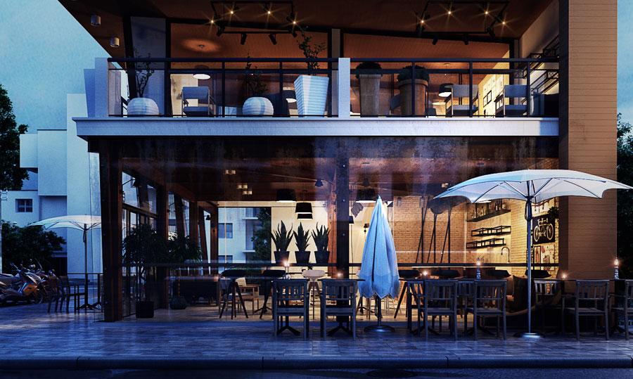 thiết kế quán cafe 2 mặt tiền đẹp 2