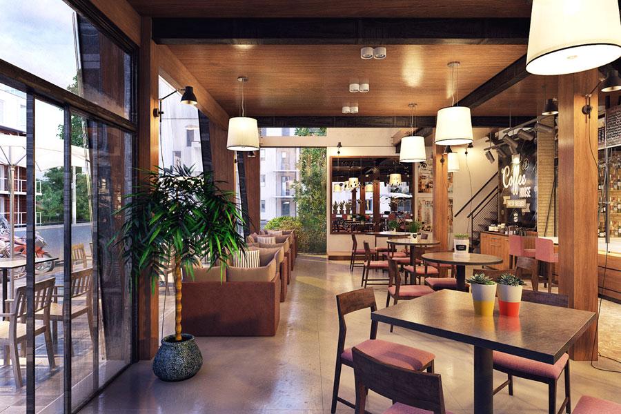 thiết kế quán cafe 2 mặt tiền đẹp 5