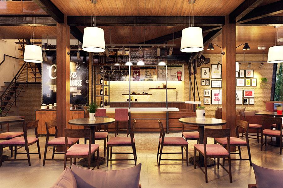 thiết kế quán cafe 2 mặt tiền đẹp 6