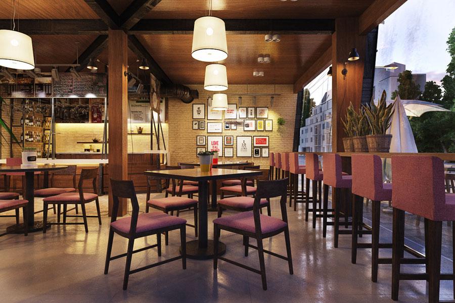thiết kế quán cafe 2 mặt tiền đẹp 8