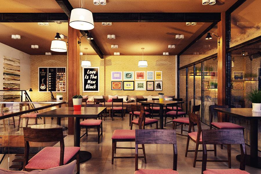 thiết kế quán cafe 2 mặt tiền đẹp 9