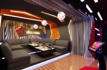 sofa karaoke bọc vải nỉ chất lượng