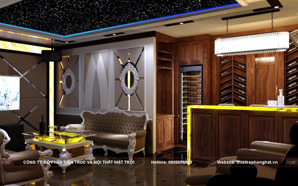Không gian phòng hát thêm tiện nghi hơn với hệ thống tủ đựng rượu vang