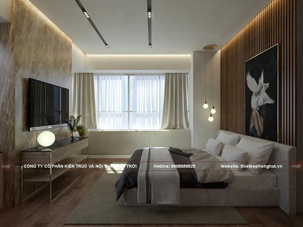 Thiết kế cách âm phòng ngủ đơn giản cho căn hộ chung cư cho đôi vợ chồng trẻ