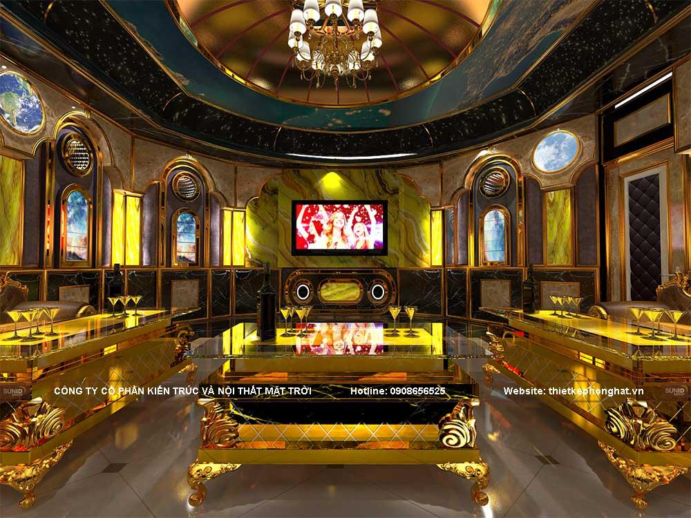 Thiết kế phòng hát karaoke theo phong cách vũ trụ xanh