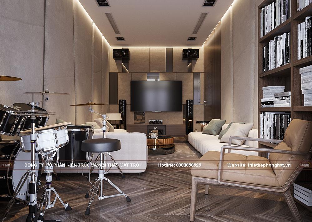 Thiết kế nội thất phòng đọc sách kết hợp xem phim biệt thự Vinhomes Green Villas
