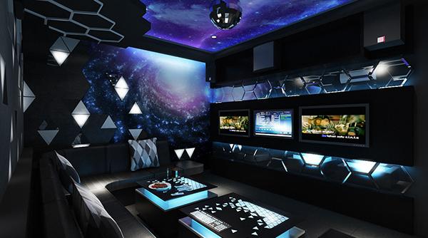 Không gian phòng karaoke gia đình phong cách giải ngân hà