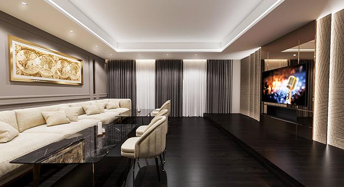 Thiết kế phòng hát gia đình biệt thự Pandora phong cách tân cổ điển